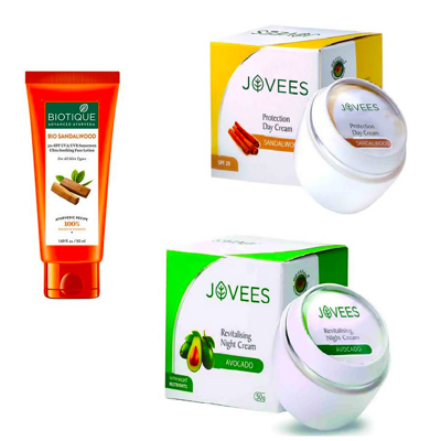 Набор косметики №1 (JOVEES Revitalising Night Cream/Protection Day Cream SPF20/BIOTIQUE BIO SANDALWOOD 50+ SPF SUNSCREEN ULTRA SOOTHING)