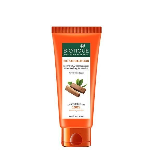 Крем защитный SPF50+ / BIOTIQUE BIO SANDALWOOD 50+ SPF SUNSCREEN ULTRA SOOTHING